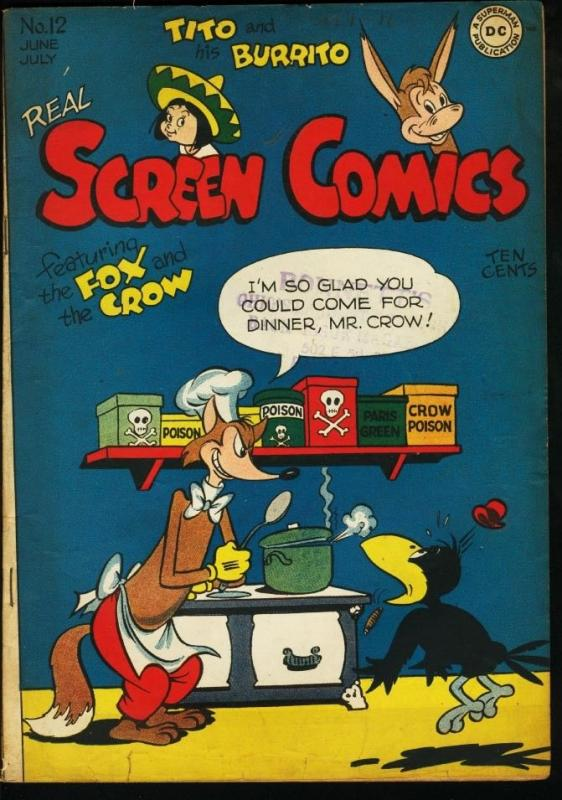 REAL SCREEN COMICS #12-FOX AND CROW-TITO AND BURRITO VG/FN