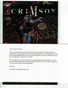 Crimson #1 american entertainment exclusive variant w/manufacturing error letter