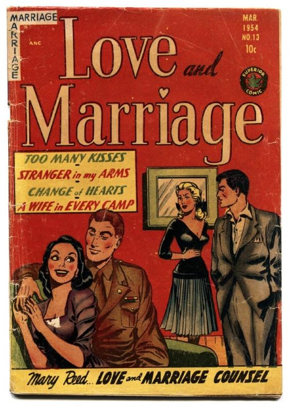 LOVE AND MARRIAGE #13-1954-SUPERIOR-spicy LINGERIE SCENES-headlights