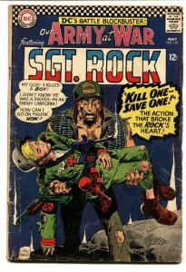OUR ARMY AT WAR #167 1966-DC WAR COMIC-SGT. ROCK- VG-