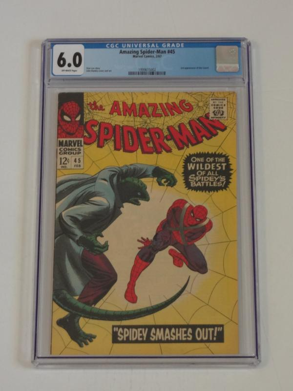 Amazing Spider-Man #45, CGC 6.0; 3rd appearance of Lizard! Stan Lee script!!