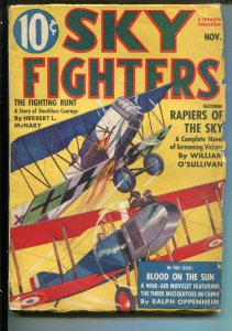 SKY FIGHTERS 11/1938-AIR WAR PULP-THRILLS-AVIATION BATTLE-vg
