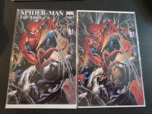 SPIDERMAN LIFE STORY 1 TYLER KIRKHAM SONNYS VIRGIN VARIANT 2 PACK NM AMAZING