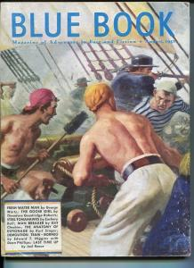 BLUE BOOK PULP-AUGUST 1951-G-BOWER-COVER-JOHN PAUL JONES-BENSON-DALY-HIGGINS G