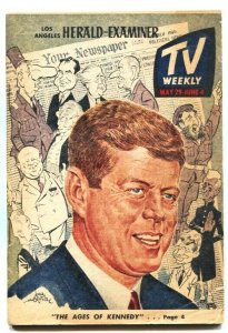 TV WEEKLY-L A HERALD-EXAMINER-JOHN F KENNEDY-MUNSTERS-YVONNE DeCARLO-1966