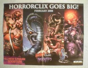 HEROCLIX NIGHTMARES Promo Poster, 21x17, 2008, Unused, more Promos in store
