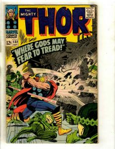 Thor # 132 FN- Marvel Comic Book Loki Odin Sif Avengers Hulk Iron Man GK4