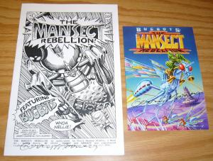 Mansect Rebellion #1 VF/NM signed comic + postcard - gerry mooney 1995 bugbots