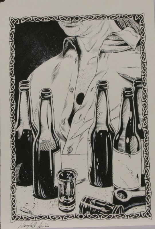 DOUG SIROIS original published art, BANSHEE'S CRY splash page 13, 12 x 18,2011
