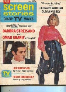 Screen Stories-Barbra Streisand-Omar Sharif-Olivia Hussey-Sept-1968