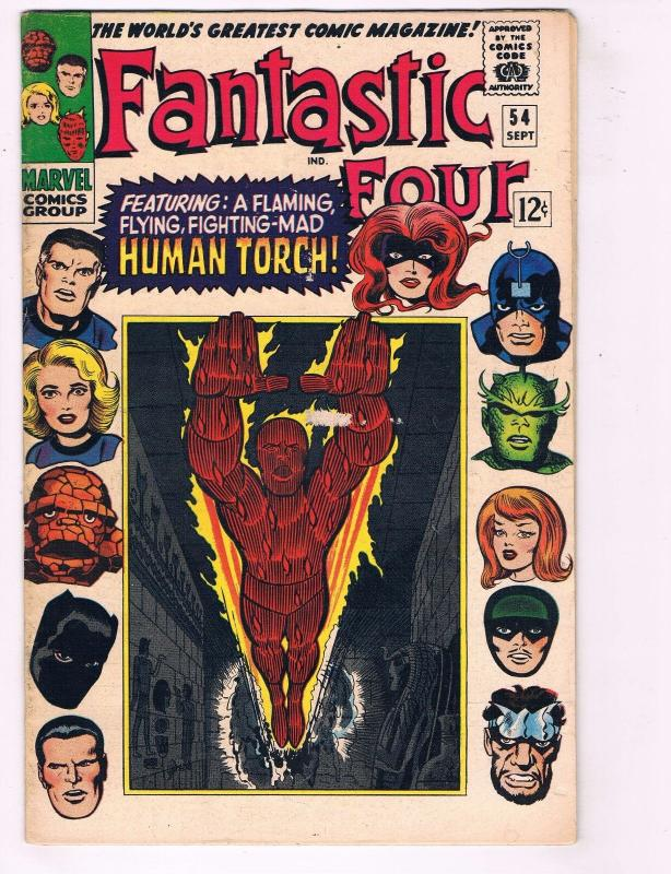 Fantastic Four # 54 FN Marvel Comic Book Human Torch Thing Dr Doom Silver J29