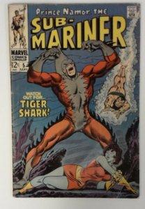 PRINCE NAMOR SUB-MARINER #5 VG Marvel KEY! 1st Appearance TIGER SHARK