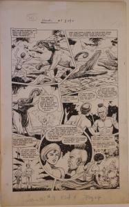HENRY KIEFER original art, WAMBI JUNGLE BOY #9 pg 4, 14x23, 1950, Elephant,Crocs