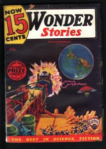 WONDER STORIES 1935 JUL-FRANK R PAUL-SCI FI PULP-UFO VG/FN