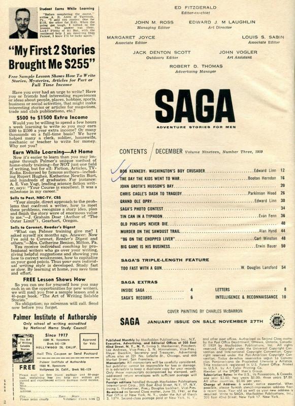 Saga Magazine December 1959-CIVIL WAR COVER/GRAND OLE OPRY FN