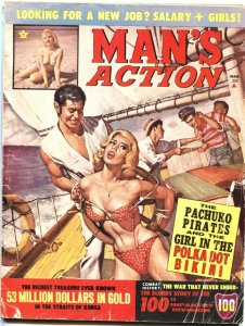 MAN'S ACTION-MAR 1964-BONDAGE-TERROR-PIRACY COVER-CHEESECAKE-PULP