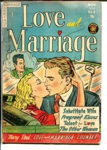 Love and Marriage #5 1952-Superior-headlights-provocative poses-spicy art-G