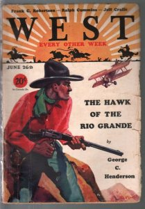 West 6/26/1929-HC Murphy cover-Hawk Of The Rio Grande-aviation-VG+