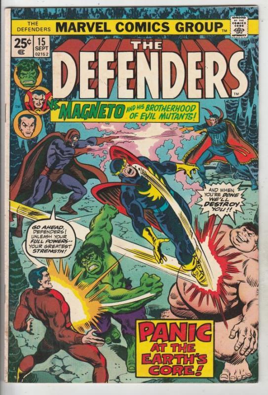 Defenders, The #15 (Sep-74) FN/VF Mid-High-Grade Hulk, Dr. Strange, Namor, Va...