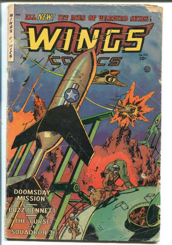 WINGS #120 1953-FICTION HOUSE-KOREAN WAR-RARE LATE ISSUE-good