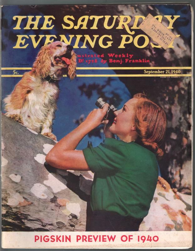 Saturday Evening Post 9/21/1940-football preview-Little Lulu