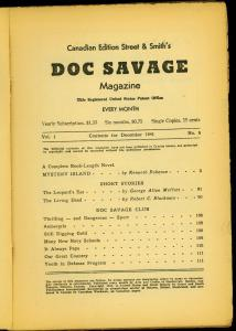 Doc Savage Pulp #6 December 1941- Mystery Island- Canadian Variant reading copy