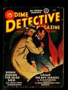 Dime Detective Pulp October 1945- Hardboiled Crime-Great cover- VG
