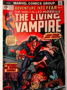 Adventure Into Fear #23 Marvel 1974 VG- Comic Book Morbius, Marvel Value Stamp