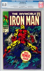Iron Man #1 CGC Graded 8.0 Story continued from Iron Man and Sub-Mariner #1. ...