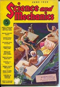 Science and Mechanics 6/1939-standard pulp magazine format-swimsuit-VG