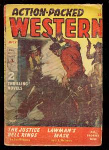 ACTION-PACKED WESTERN JULY 1954-PULP-BLACK RIDER STORY VG