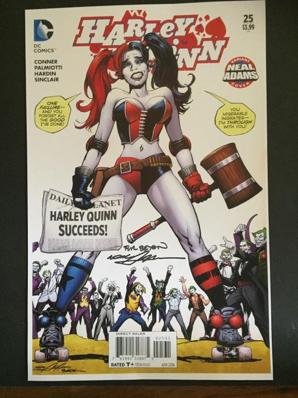 NEAL ADAMS SIGNED- HARLEY QUINN- LAMENATED ART WORK-WONDER-CON HOLLYWOOD