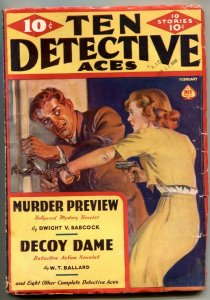 Ten Detective Aces February 1939- Great Saunders cover- Decoy Dame