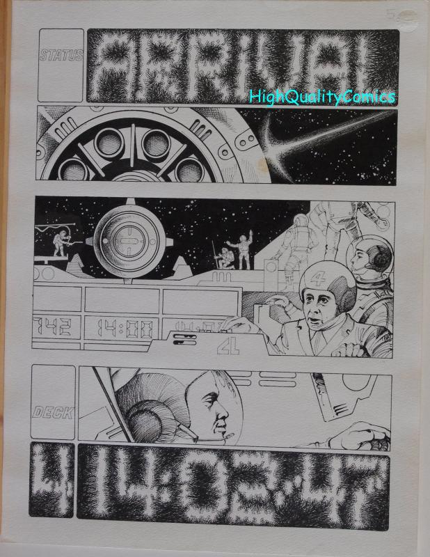 MIKE HINGE original art, 8 page Sci-Fi story, Arrival, Astronauts, Smithsonian