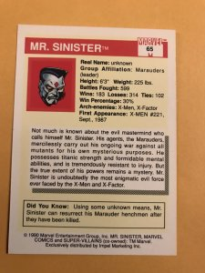 MR. SINISTER#65 : 1990 Marvel Universe Series 1,  NM/M,  X-Men