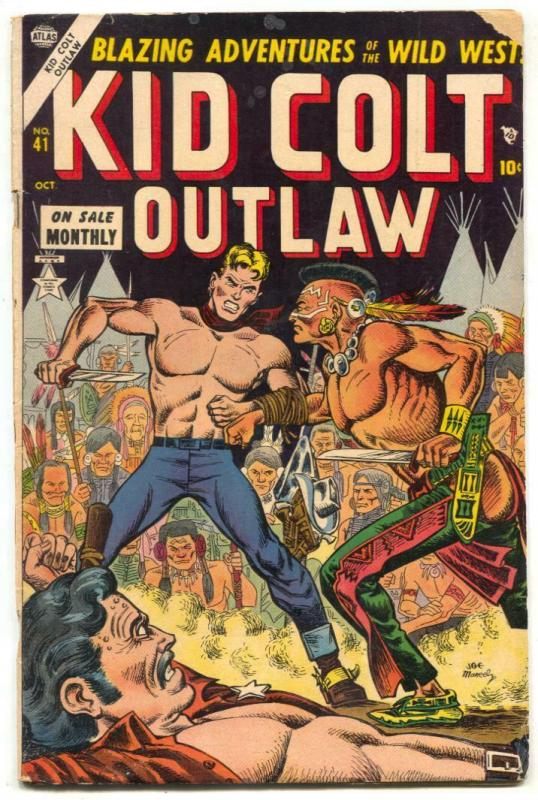 Kid Colt Outlaw #41 1954- Black Rider- Indian Knife Fight cover