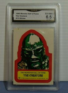 1980 Universal Monster Hall of Fame Creature Black Lagoon #13 Sticker Card - 6.5