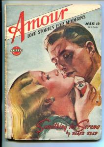 AMOUR-#1-MAR 1946-SPICY STORIES-RARE-SPEED-SOUTHERN STATES PEDIGREE-vf+