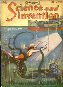 Science & Invention July 1928- Wild octopus cover- Metal Emperor