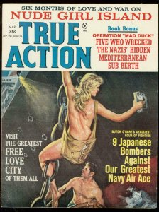 TRUE ACTION MARCH 1965-SAUCY WW2 COVER-NUDE GIRL ISLAND FN