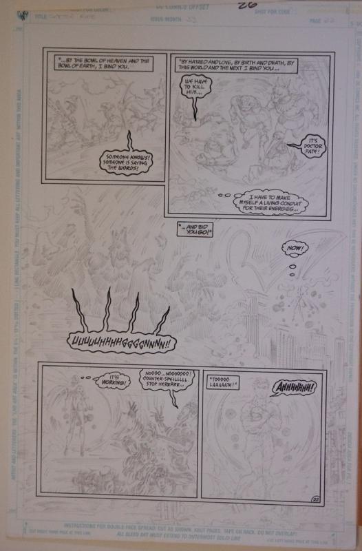 SCOT EATON / PETER GROSS original art, DOCTOR FATE #33, pg 26, 11x17, 1991
