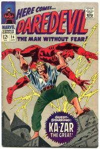 DAREDEVIL #24-KA-ZAR-MARVEL--HIGH GRADE SILVER AGE COPY VF
