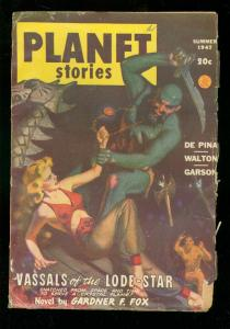 PLANET STORIES PULP-SUM 1947-GOOD GIRL ART COVER-SCI FI VG