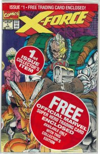 X-Force #1 (1991 v1) Rob Liefeld Shatterstar Sealed Polybag w/ Cable Card NM