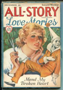 ALL-STORY LOVE STORIES 12/1935-THRILLING-UNUSUAL CLOWN-COVER-vg