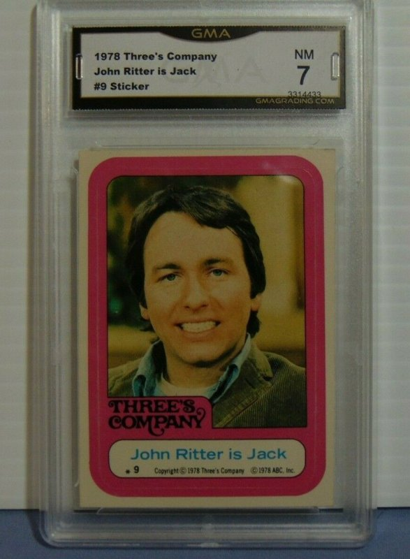 1978 ABC Three's Company John Ritter is Jack #9 Sticker Card - GMA Graded NM 7