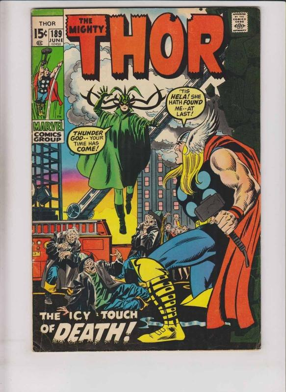 Thor #189 FN june 1971 - stan lee - john buscema - hela goddess of death cover