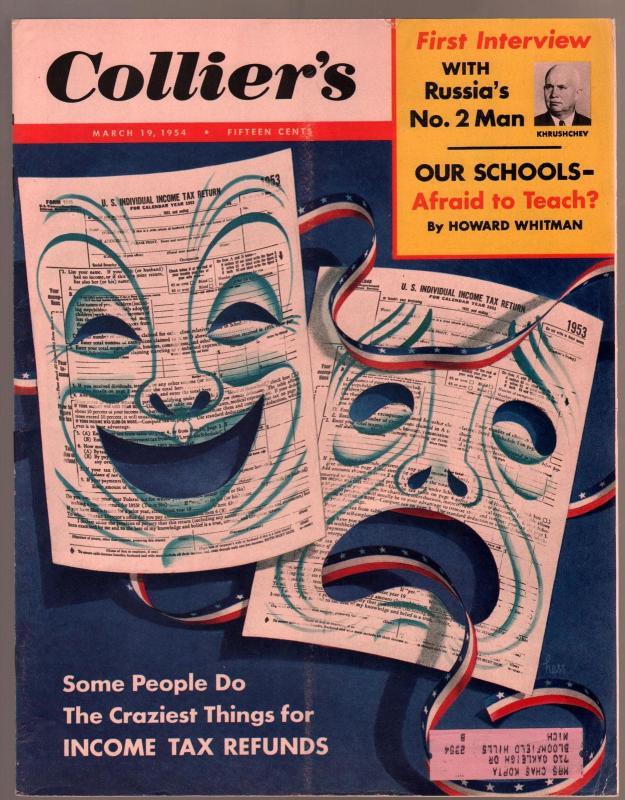 Collier's 4/2/1954-John D MacDonald pulp fiction-fashion-pix-VG/FN