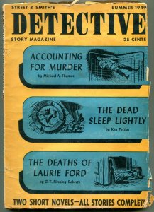 Dective Story Magazine Pulp Summer 1949- Accounting for Murder- Final issue