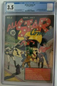 All Star Comics #5 ~ 1941 DC ~ CGC 3.5 (VG-), 1st Appearance of Hawkgirl